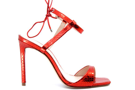 δερμάτινα κόκκινα μεταλλικά ψηλοτάκουνα πέδιλα SCHUTZ