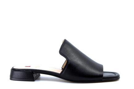 δερμάτινα μαύρα φλατ mules HOGL