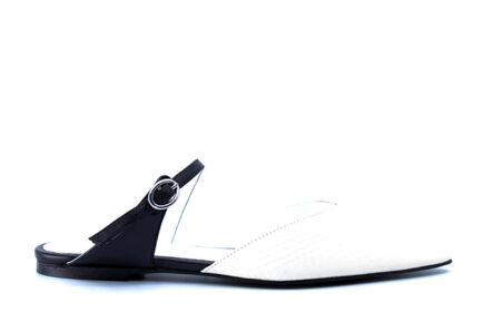 δερμάτινα μυτερά λευκά mules WHAT FOR