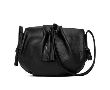 δερμάτινη μαύρη τσάντα GIANNI CHIARINI FLORA